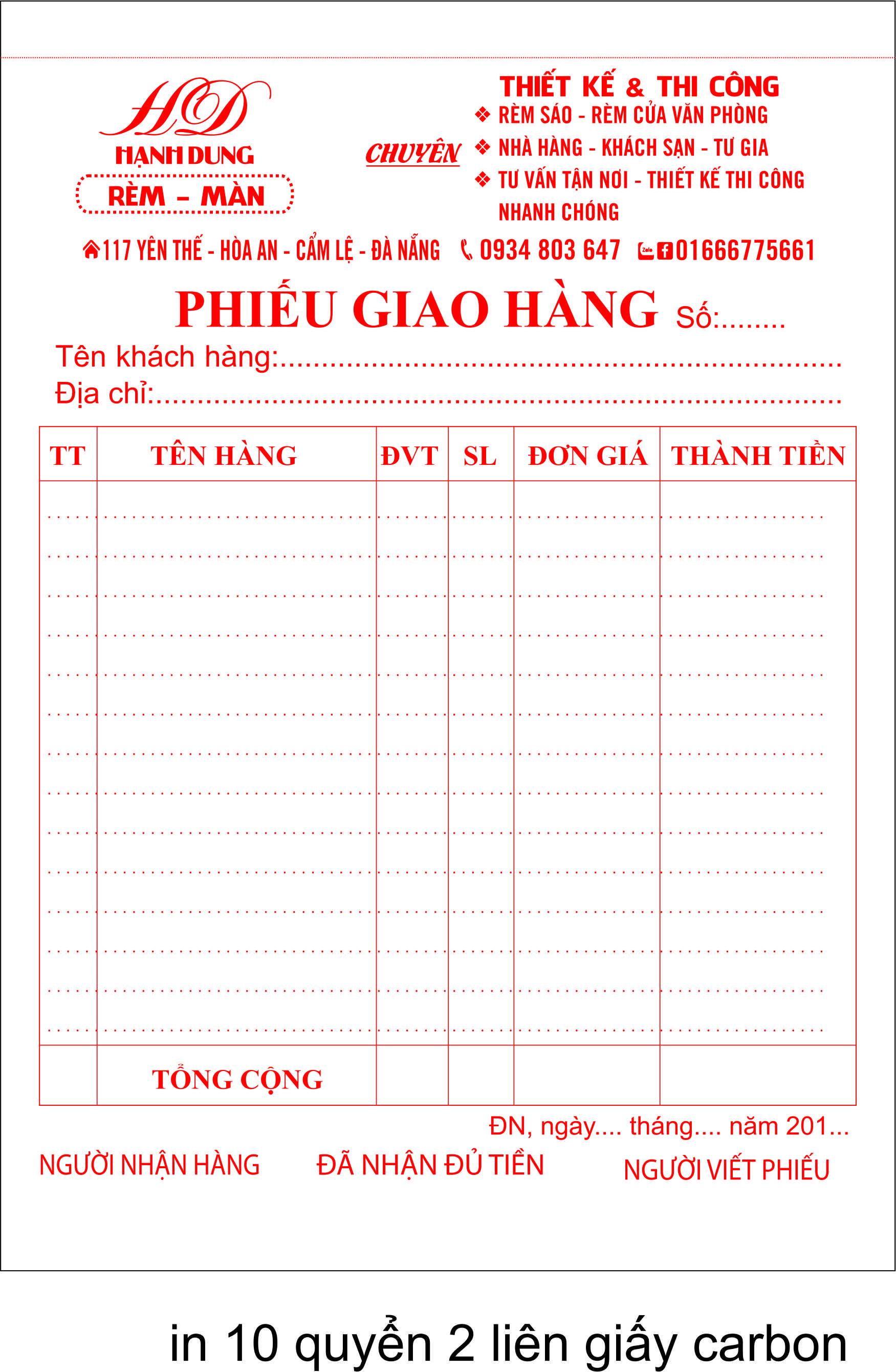 phiếu thu hạnh dung Đà Nẵng