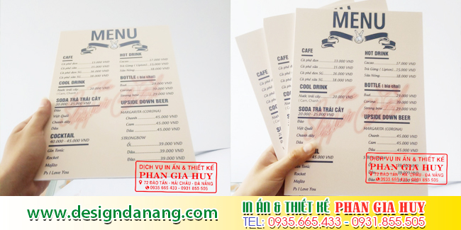 in menu gia re da nang
